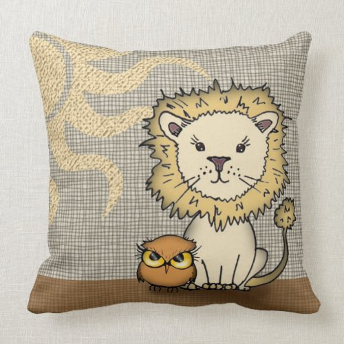 Cute Lion and Owl Throw Pillow for Boy or Girl throwpillow