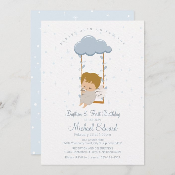 cute little angel first birthday and baptism invitation zazzle com