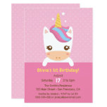Cute Little Baby Unicorn First Birthday Party Invitation