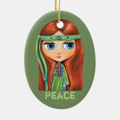 Cute Little Green Hippie Girl Peace Sign Ceramic Ornament