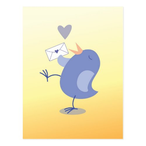 Cute little Tweeter Bird with a letter! Postcard (also available as a greeting card)
