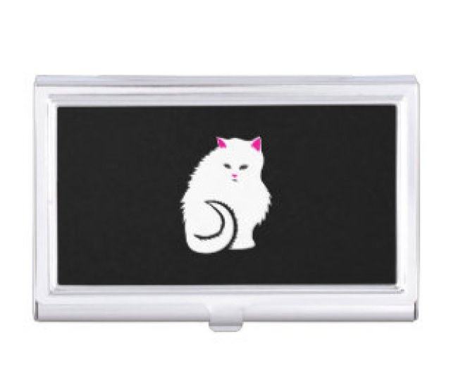 Cute Little White And Fluffy Kitty Cat Business Card Case