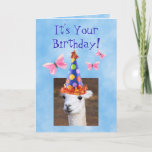 ❤️ Cute Llama and Butterflies Birthday Card