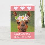 Cute Llama And Hearts Get Well Card
