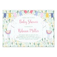 Cute Llama Fiesta Baby Shower Card