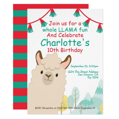 Cute Llama Fun Birthday Party Invitation
