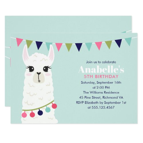 Cute Llama Kids Birthday Party Invitation
