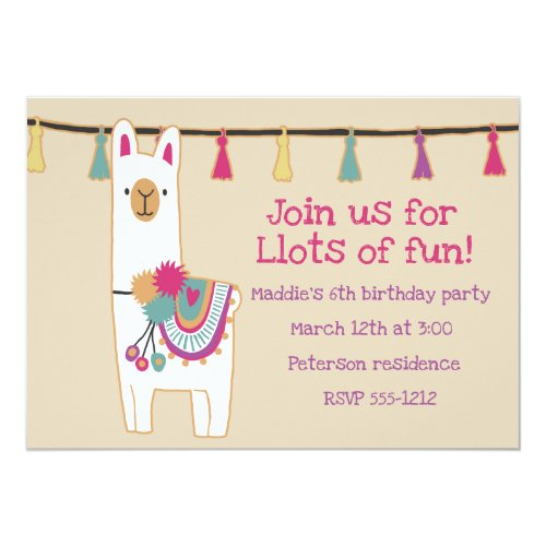 Cute llama & tassels design invitation