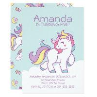 Cute Magical Unicorn Pastel GIRLY Animals Birthday Card