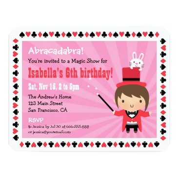Cute Magician Girl Kids Magic Party Invitations