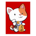 Cute Maneki Neko (Lucky Beckoning Cat) Postcard