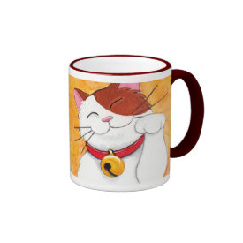 Cute Maneki Neko Lucky Calico Cat Ringer Coffee Mug