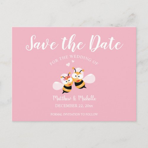 Cute Meant To Bee Whimsical Save The Date Wedding Announcement Postcard