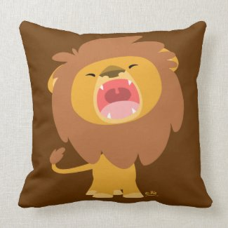 Cute Mighty Roaring Lion Cartoon Pillow throwpillow