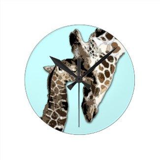 Cute mother and baby giraffe clocks