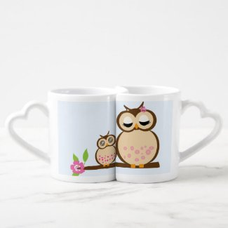 Cute mother and baby owl lovers mugs