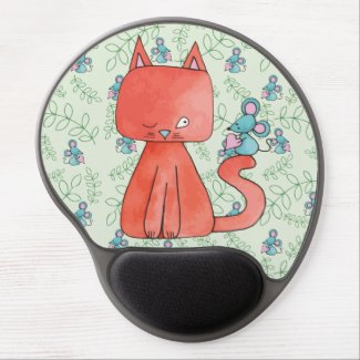 Cute Mouse Loves Kitty Cat Gel Mouse Pad