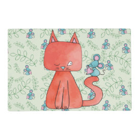 Cute Mouse Loves Kitty Cat Laminated Placemat