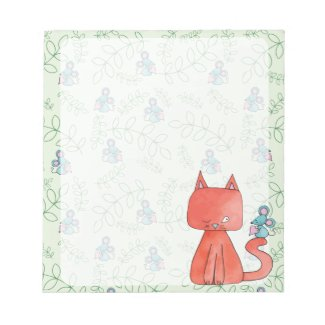 Cute Mouse Loves Kitty Cat Note Pad
