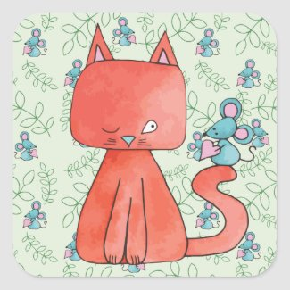 Cute Mouse Loves Kitty Cat Square Sticker