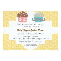Cute Mustache & Bow Cupcake Gender Reveal Invite