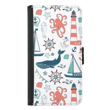 Cute nautical Animals And Symbols Pattern Wallet Phone Case For Samsung Galaxy S5