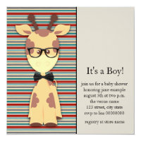Cute Nerdy Geek Giraffe Baby Boy Shower Card