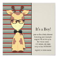 Cute Nerdy Geek Giraffe Baby Boy Shower Card