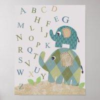Cute Nursery wall art elephant alphabets | Zazzle.com