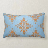 Cute Orange and Blue Damask Throw Pillow   Zazzle