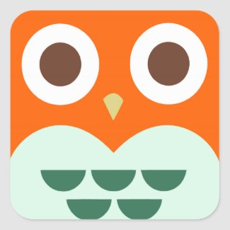 Cute Orange Owl on Green Plaid Background Square Sticker