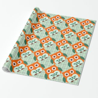 Cute Orange Owl Wrapping Paper