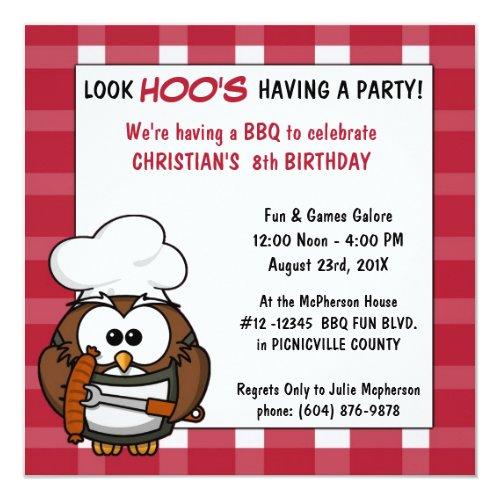Cute Owl Barbecue Picnic Birthday Party Invitation