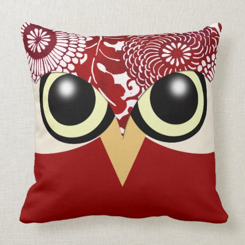 Cute Owl - red throwpillow