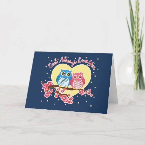 Cute Owls - Owls Love You Heart Notecard