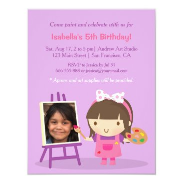 Cute Painting Arts Crafts Birthday Party Photo Card