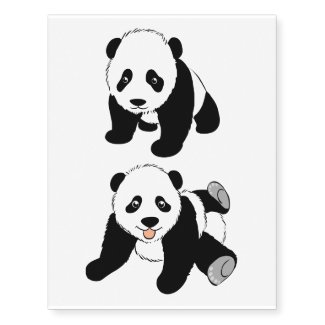 Cute Panda Bears Graphics Temporary Tattoos