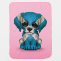 Cute Patriotic Scottish Flag Puppy Dog, Pink Baby Blanket