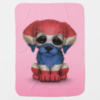 Cute Patriotic Thai Flag Puppy Dog, Pink Stroller Blanket