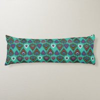 cute peacock feather pattern body pillow