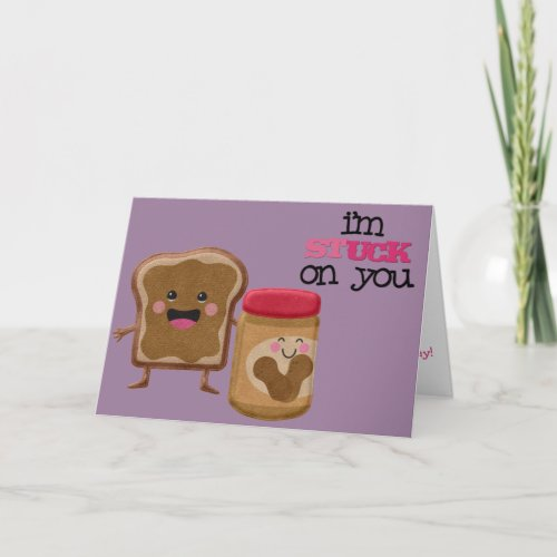 Cute Peanut Butter and Jelly Valentine Holiday Card
