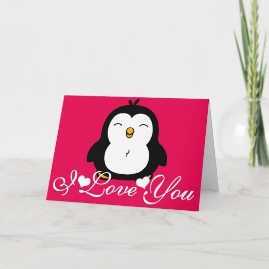 Cute Penguin I Love You PINK Card