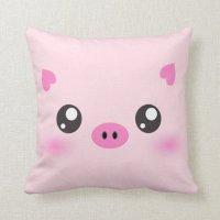 Cute Pig Face - kawaii minimalism Pillows | Zazzle