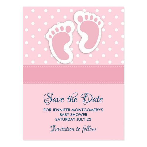 Cute Pink baby Girl Footprints Save the Date Postcard