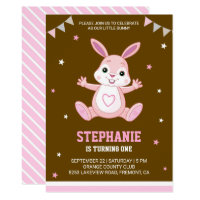 Cute Pink Bunny First Birthday Party Invitation
