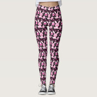 Cute pink bunny rabbits and easter eggs leggings