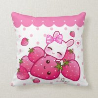 Cute pink bunny with kawaii strawberries throw pillow | Zazzle