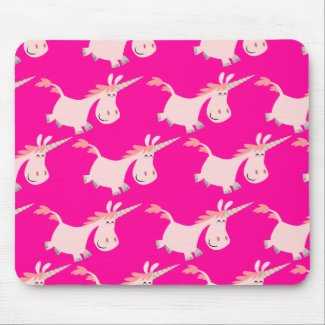 Cute Pink Cartoon Unicorn Herd!! mousepad mousepad