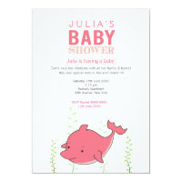Cute Pink Dolphin Baby Shower Invite