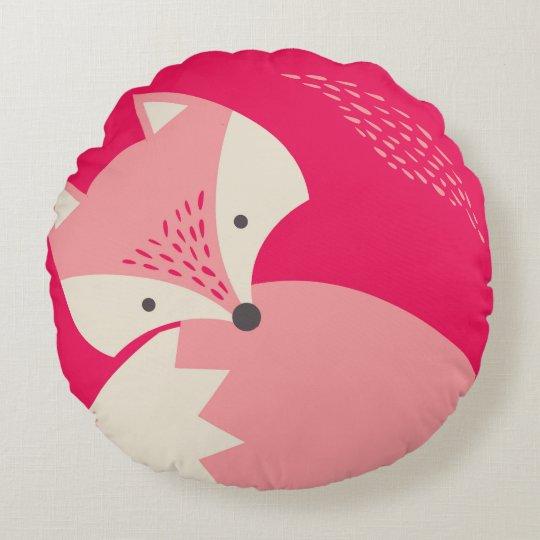 Cute Pink Fox Cartoon Round Pillow for Kids  Zazzlecom